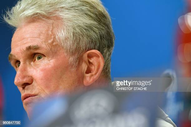 Bayern Munich's German head coach Jupp Heynckes speaks during a press conference at the stadium in Munich southern Germany on April 24 2018 on the...