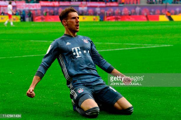 Bayern Munich's German midfielder Leon Goretzka celebrates a goal that was disallowed following video evidence during the German first division...