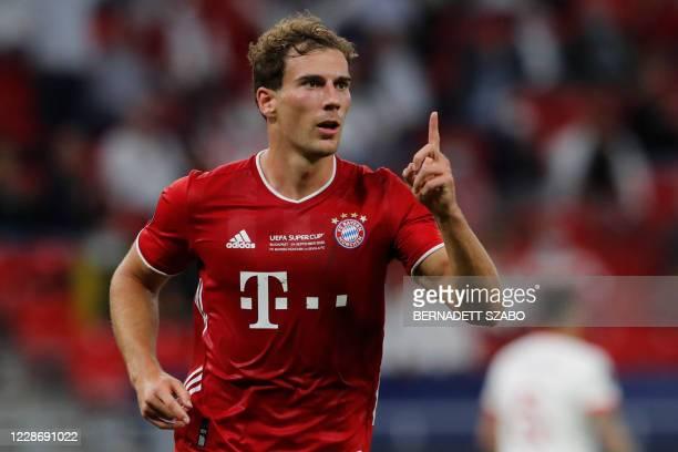 Bayern Munich's German midfielder Leon Goretzka celebrates scoring his team's first goal during the UEFA Super Cup football match between FC Bayern...