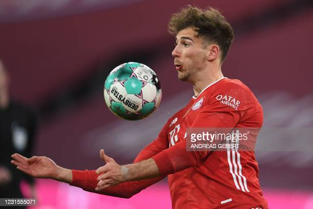 Bayern Munich's German midfielder Leon Goretzka controls the ball during the German first division Bundesliga football match between FC Bayern Munich...