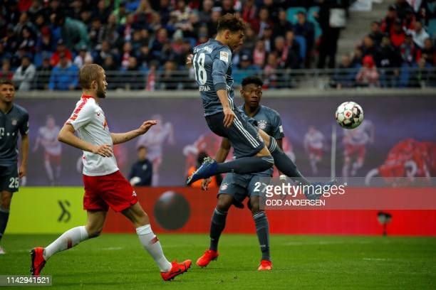Bayern Munich's German midfielder Leon Goretzka kicks the ball to score a goal that was disallowed afterwards during the German first division...