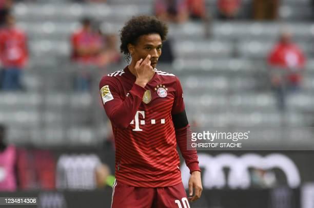 Bayern Munich's German midfielder Leroy Sane reacts during the German first division Bundesliga football match FC Bayern Munich v FC Cologne in...
