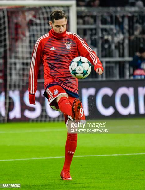 Bayern Munich's German midfielder Sebastian Rudy during the warmup prior the UEFA Champions League football match between Paris SaintGermain and...