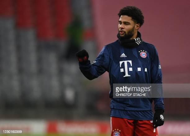 Bayern Munich's German midfielder Serge Gnabry gestures ahead the German first division Bundesliga football match between Bayern Munich and Vfl...