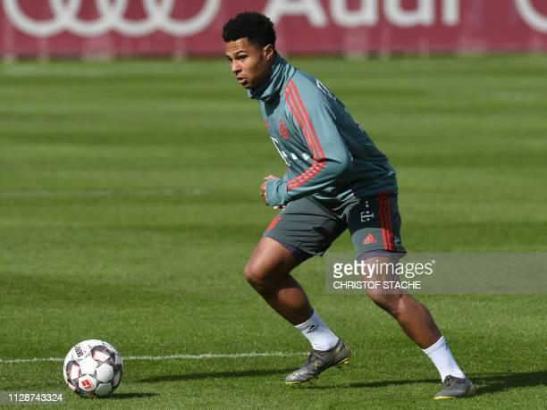 Bayern Munich's German midfielder Serge Gnabry plays the ball during the team's training's session at the club's grounds in Munich southern Germany...