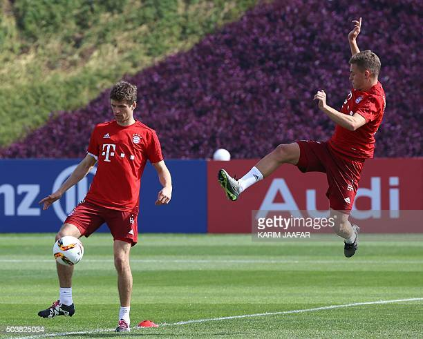 Bayern Munich's German player Thomas Muller takes part in a training session during the football team's winter training camp in the Qatari capital...
