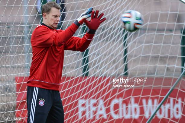 FCBayern Munich's goalkeeper Manuel Neuer takes part in a training session at the stadium'Stade Adrar' in Agadir Morocco 20December 2013 FCBayern...