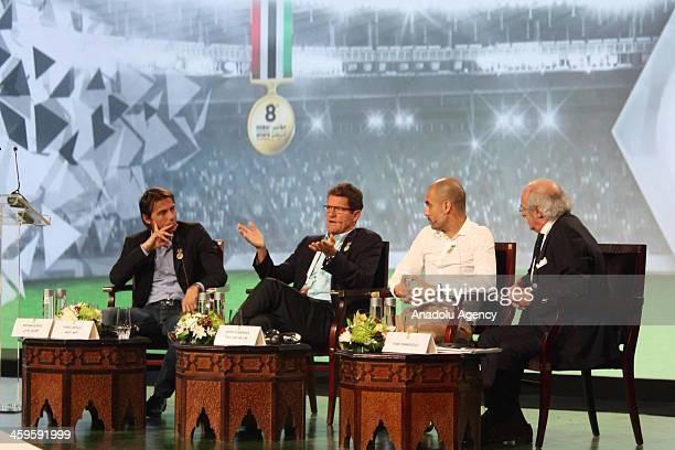 Bayern Munich's head coach Josep Guardiola Juventus head coach Antonio Conte Russia's national football team manager Fabio Capello attend the first...