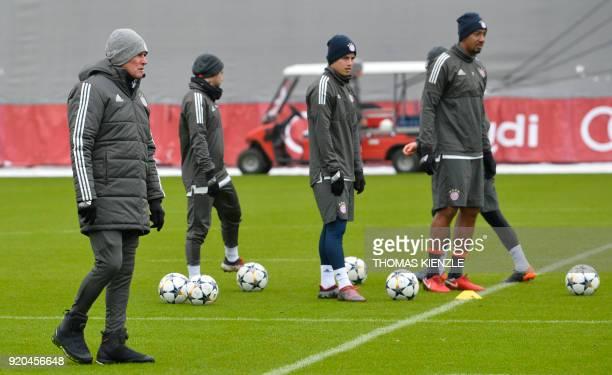 Bayern Munich's head coach Jupp Heynckes Bayern Munich's German defender Jerome Boateng and Bayern Munich's German midfielder Joshua Kimmich attend a...
