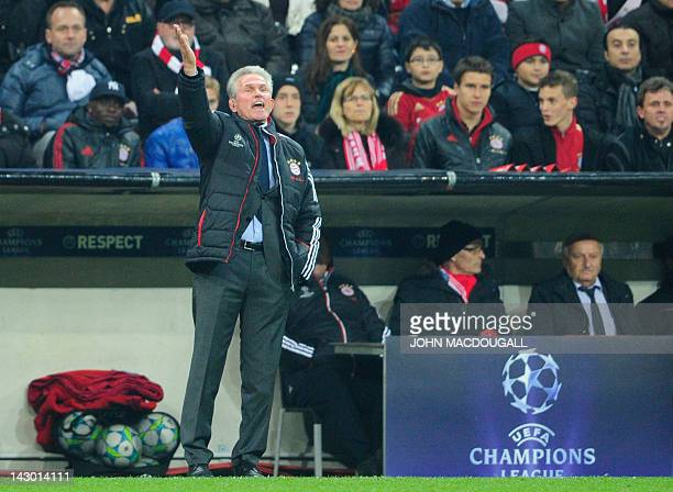 Bayern Munich's head coach Jupp Heynckes reacts during the UEFA Champions League firstleg semifinal football match Bayern Muenchen vs Real Madrid in...