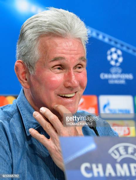 Bayern Munich's head coach Jupp Heynckes smiles during a press conference on February 19 2018 in Munich southern Germany on the eve of the UEFA...