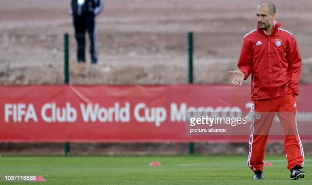 FCBayern Munich's head coach Pep Guardiola takes part in a training session at the stadium'Stade Adrar' in Agadir Morocco 20December 2013...