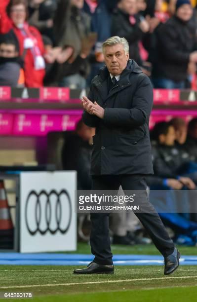 Bayern Munich's Italian head coach Carlo Ancelotti celebrates the fourth goal during the German first division Bundesliga football match between...
