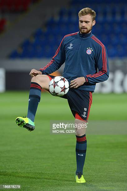 FC Bayern Munich's Jan Kirchhoff attends a the training session on November 4 2013 in Pilsen on the eve of their UEFA Champions League group D...