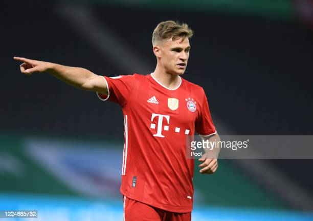 Bayern Munich's Joshua Kimmich reacts during the DFB Cup final match between Bayer 04 Leverkusen and FC Bayern Muenchen at Olympiastadion on July 4...