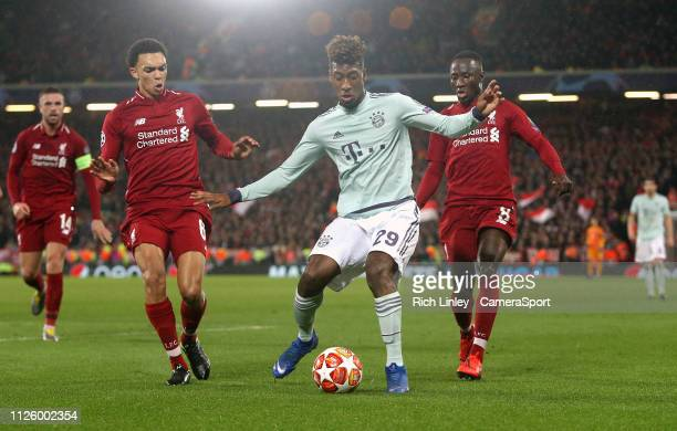 Bayern Munich's Kingsley Coman under pressure from Liverpool's Trent AlexanderArnold and Naby Keita during the UEFA Champions League Round of 16...