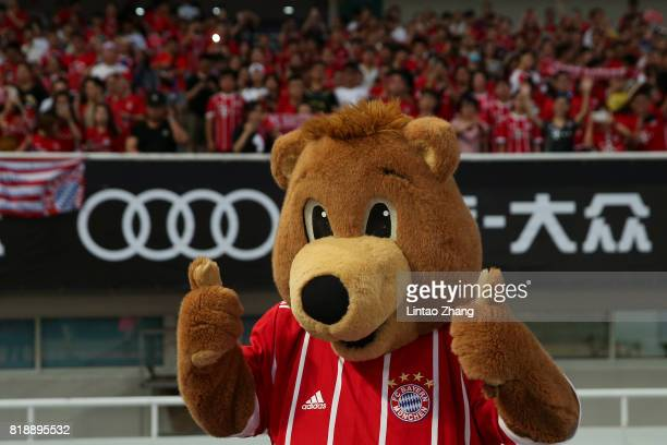 Bayern Munich's mascot Berni cheers with fans during the 2017 International Champions Cup football match between FC Bayern and Arsenal FC at Shanghai...