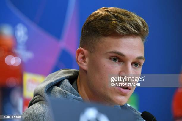 Bayern Munich's midfielder Joshua Kimmich attends a press conference on the eve of the UEFA Champions League Group E football match Bayern Munich vs...