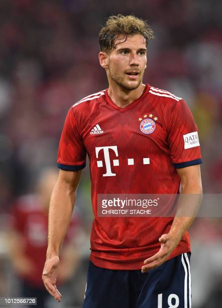 Bayern Munich's midfielder Leon Goretzka reacts during the preseason friendly football match between FC Bayern Munich and Manchester United at the...