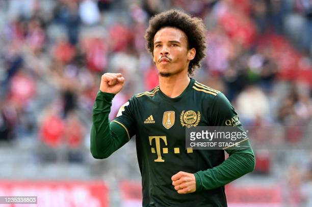 Bayern Munich's midfielder Leroy Sane celebrates after the first goal for Munich during the German first division Bundesliga football match between...