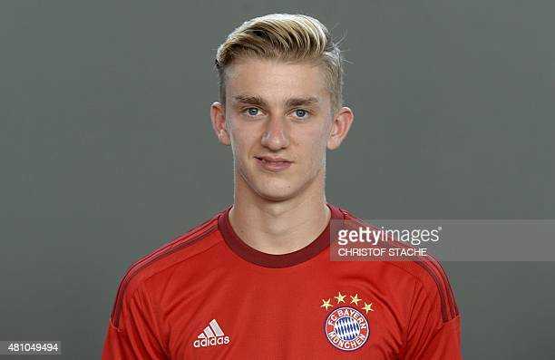 Bayern Munich's midfielder Sinan Kurt poses during the team presentation of the German first division Bundesliga team FC Bayern Munich at the...