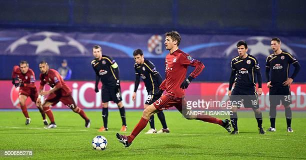 Bayern Munich's midfielder Thomas Mueller controls the ball during the UEFA Champions League football match between Dinamo Zagreb v Bayern Munich at...