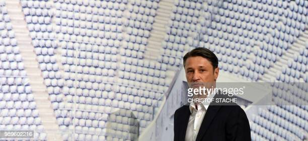 Bayern Munich's new Croatian head coach Niko Kovac arrives for a press conference at the stadium in Munich southern Germany on July 2 2018 The former...
