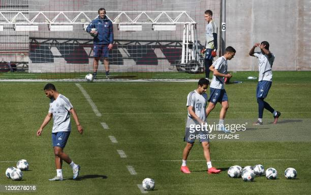 Bayern Munich's players attend a training session of the German first division Bundesliga team FC Bayern Munich at the team training ground in Munich...