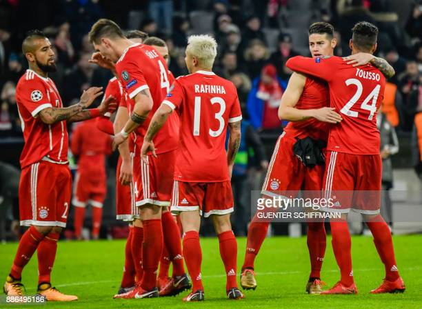Bayern Munich's players celebrate after winning the UEFA Champions League football match of Bayern Munich vs Paris SaintGermain on December 5 2017 in...