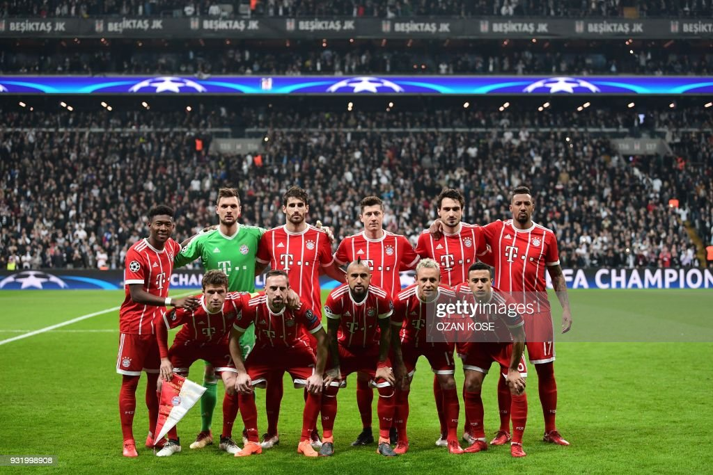 Bayern Munich's players (Front, From L) forward Thomas Mueller, French midfielder Franck Ribery, Chilean midfielder Arturo Vidal, Brazilian defender Rafinha, and Spanish midfielder Thiago Alcantara and (Rear, From L) Austrian defender David Alaba, goalkeeper Sven Ulreich, Spanish defender Javi Martinez, forward Robert Lewandowski, defender Mats Hummels and defender Jerome Boateng pose for a team photo prior to the second leg of the last 16 UEFA Champions League football match between Besiktas and Bayern Munich at Besiktas Park in Istanbul on March 14, 2018. /