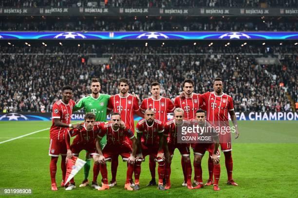Bayern Munich's players forward Thomas Mueller French midfielder Franck Ribery Chilean midfielder Arturo Vidal Brazilian defender Rafinha and Spanish...
