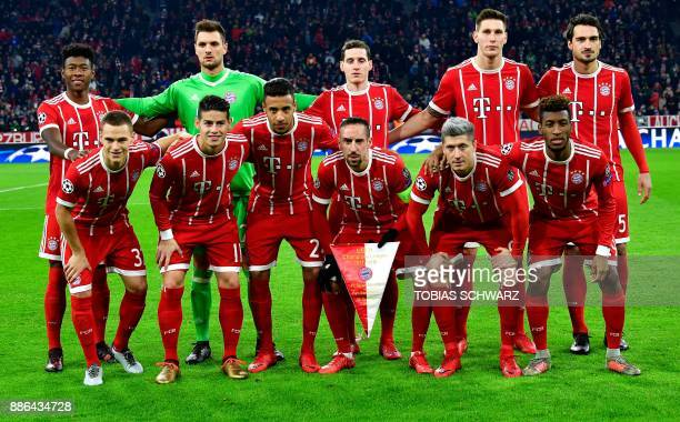 Bayern Munich's players pose for a team photo prior to the UEFA Champions League football match of Bayern Munich vs Paris SaintGermain on December 5...