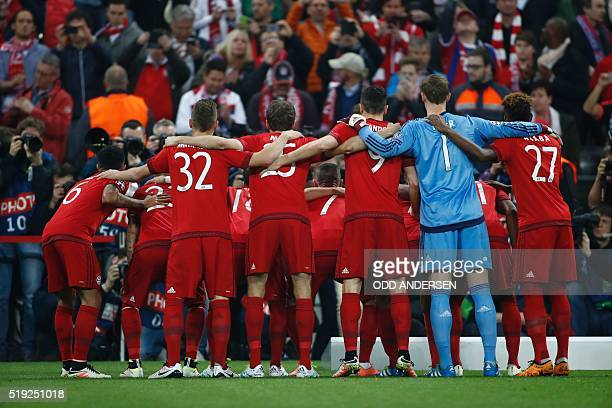 Bayern Munich's players pose for the team photo prior to the Champions League quarterfinal firstleg football match between Bayern Munich and Benfica...