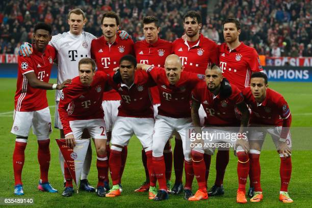 Bayern Munich's players pose for the team photo prior to the UEFA Champions League round of sixteen football match between FC Bayern Munich and...