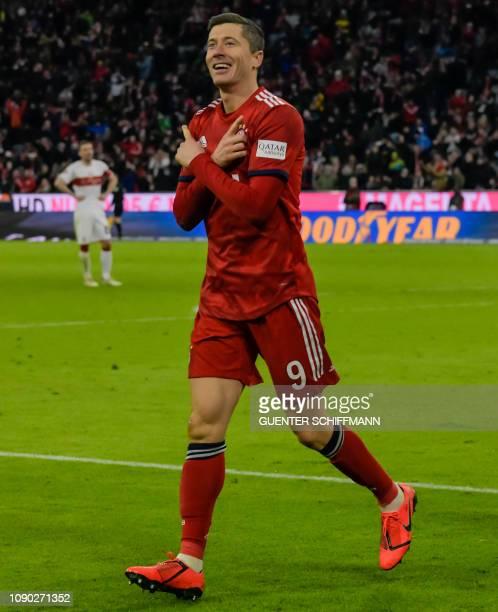 Bayern Munich's Polish forward Robert Lewandowski celebrates scoring during the German first division Bundesliga football match FC Bayern Munich vs...