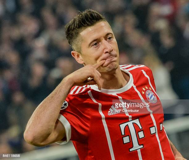 Bayern Munich's Polish forward Robert Lewandowski celebrates scoring during the Champions League group B match between Bayern Munich and RSC...