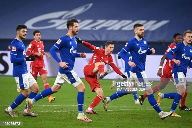 Bayern Munich's Polish forward Robert Lewandowski plays the ball during the German first division Bundesliga football match Schalke 04 v FC Bayern...