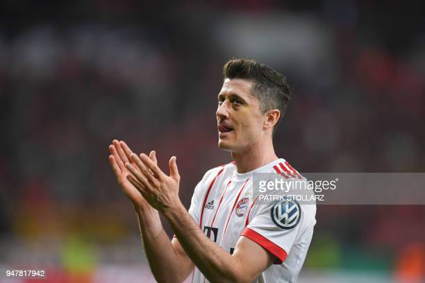 Bayern Munich's Polish forward Robert Lewandowski reacts after the German football Cup DFB Pokal semifinal match Bayer 04 Leverkusen vs Bayern Munich...
