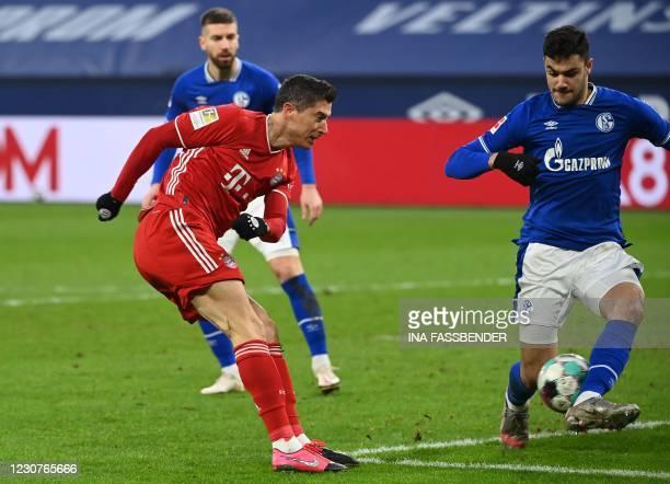 Bayern Munich's Polish forward Robert Lewandowski scores the 0-2 goal during the German first division Bundesliga football match Schalke 04 v FC...