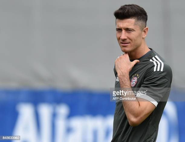 Bayern Munich's Polish striker Robert Lewandowski attends the final training session ahead the first ChampionsLeague group B match between Bayern...