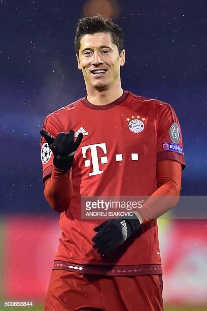 Bayern Munich's Polish striker Robert Lewandowski celebrates scoring during the UEFA Champions League football match between Dinamo Zagreb v Bayern...
