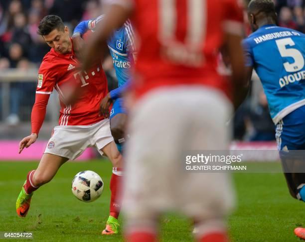 Bayern Munich's Polnish striker Robert Lewandowski scores his second goal during the German first division Bundesliga football match between Bayern...