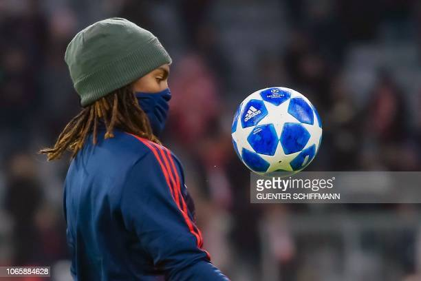 Bayern Munich's Portuguese midfielder Renato Sanches controls the ball during the warm up prior to the UEFA Champions League Group E football match...