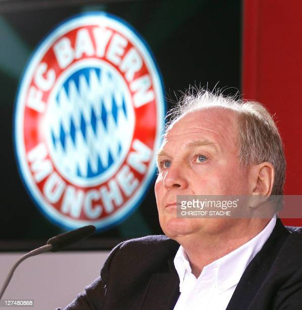 Bayern Munich's President Uli Hoeness addresses a press conference of the German first division Bundesliga team Bayern Munich in Munich southern...