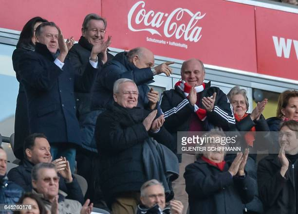 Bayern Munich's President Uli Hoeness celebrates the fourth goal during the German first division Bundesliga football match between Bayern Munich and...