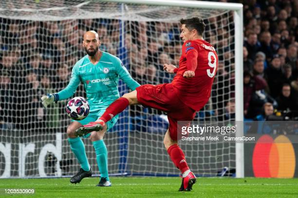 Bayern Munich's Robert Lewandowski has a shot against Chelsea's Wilfredo Caballero during the UEFA Champions League round of 16 first leg match...