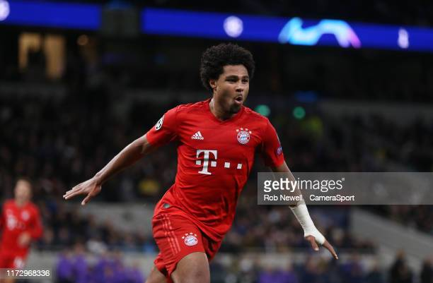 Bayern Munich's Serge Gnabry celebrates after scoring his side's fifth goal during the UEFA Champions League group B match between Tottenham Hotspur...