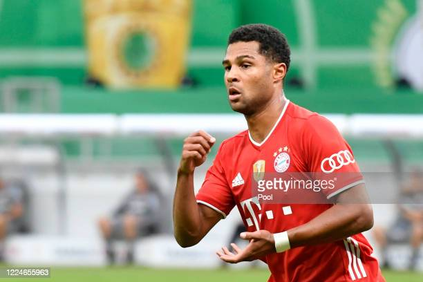 Bayern Munich's Serge Gnabry celebrates after scoring his teams second goal during the DFB Cup final match between Bayer 04 Leverkusen and FC Bayern...