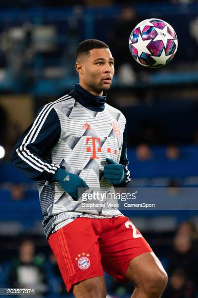 Bayern Munich's Serge Gnabry during the prematch warmup during the UEFA Champions League round of 16 first leg match between Chelsea FC and FC Bayern...
