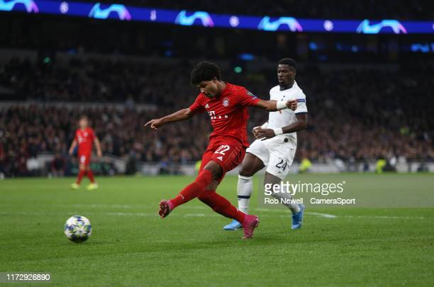 Bayern Munich's Serge Gnabry scores his side's fourth goal during the UEFA Champions League group B match between Tottenham Hotspur and Bayern...